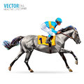 Jockey on horse. Champion. Horse racing. Hippodrome. Racetrack. Jump racetrack. Horse riding. Racing horse coming first