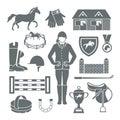 Jockey icons black set with horseshoe saddle medal barrier isolated vector illustration Stock Images
