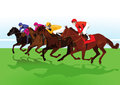 Jockeys riding racehorses illustration of group of on grass Stock Photos