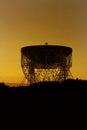 Jodrell bank observatory the lovell radio telescope at sunrise september th cheshire united kingdom Stock Image
