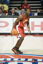 Joe johnson has the ball of atlanta hawks during a game against detroit pistons at palace of auburn hills during Stock Photo