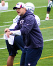 Joe judge asst special teams coach new england patriots instructing players during training camp Royalty Free Stock Photography