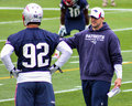 Joe judge asst special teams coach new england patriots instructing players during training camp Stock Photo