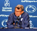 Joe paterno press conference at a blue white game in april Stock Image
