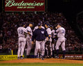 Joe torre new york yankees manager walks off the mound after speaking with pitcher roger clemens in game of the alcs image taken Royalty Free Stock Image
