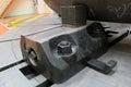 Jog on lathe machine loking workpiece the with Stock Photos