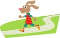 Jogging bunny a cartoon on his daily jog eps Royalty Free Stock Photography