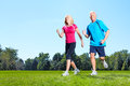 Jogging couple senior in park health and fitness Royalty Free Stock Photography