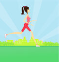 Jogging girl in summer Stock Photo