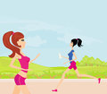Jogging girls in summer the park Stock Images