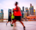 Jogging singapore people in the twilight in Stock Images
