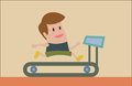 Jogging on treadmill vector cartoon of man Royalty Free Stock Photography