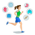 Jogging woman, running infographic elements, loss weight