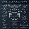 Jogo caligráfico do ornamento do vintage dos elementos o vetor molda o orname Imagem de Stock Royalty Free