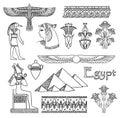 Jogo da arquitetura de Egipto e do vetor dos ornamento Fotografia de Stock Royalty Free