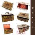 Jogo das caixas velhas Imagem de Stock Royalty Free