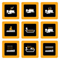 Jogo de pictograma de Wellness&Spa no preto mim Imagem de Stock Royalty Free