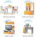 Jogo do ícone, artigos home da mobília Imagens de Stock Royalty Free