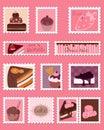 Jogo doce do vetor dos selos de porte postal Fotos de Stock Royalty Free