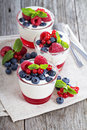 Jogurt and jelly dessert with berries Royalty Free Stock Photo