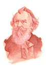 Johannes Brahms Watercolour Sketch Portrait Royalty Free Stock Photo