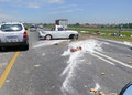 Johannesburg south africa december car accident scattered on the road at the time of the products in Stock Photo