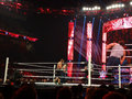 John cena takes punch from the lunatic fringe dean ambrose in w san jose march wrestling ring during monday night raw match at Royalty Free Stock Image