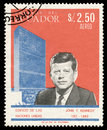 John F. Kennedy on a stamp Royalty Free Stock Photo