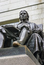 John harvard statue monument c by daniel chester french cambridge massachusetts established one of the most famous Stock Images