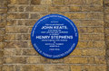 John keats and henry stephens blue plaque in london a near guy's hospital marking the location where stayed whilst studying at Stock Photos