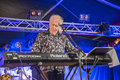 John mayall playing keyboard notodden blues festival nbf with band visited nbf and played on hovig hangar band members vocals Stock Images
