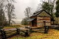 John oliver cabin in the great smoky mountain national park at cades cove was rainy and foggy with temps just above freezing this Stock Image