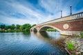 The John W Weeks Bridge and Charles River in Cambridge, Massachusetts. Royalty Free Stock Photo