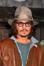 Johnny depp los angeles feb arrives at the rango premiere at village theater on february in westwood ca Royalty Free Stock Photos