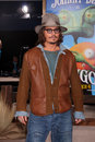 Johnny depp los angeles feb arrives at the rango premiere at village theater on february in westwood ca Royalty Free Stock Photo
