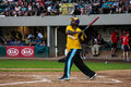 Johnny gill at bat singer takes a swing during the jeffrey osborne foundation celebrity softball game Stock Photos