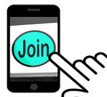 Join Button Displays Subscribing Membership Or Registration Royalty Free Stock Photo