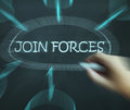 Join forces diagram means work together and partnership meaning Royalty Free Stock Photo