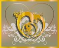 Join in matrimony elegant golden heart on a beige background filled with white ornament Royalty Free Stock Image