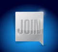 Join message bubble pointer illustration design over white Royalty Free Stock Image