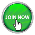 Join now badge or button in form of circular green disc with text in uppercase white letters and hand finger icon pointing to the Royalty Free Stock Images