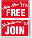 Join Now Free membership invitation signs Royalty Free Stock Photography