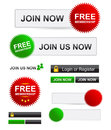 Join now set of different membership advertisement buttons icons and stickers Royalty Free Stock Photos