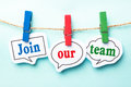 Join our team concept paper speech bubbles with line on the light blue background Stock Photography