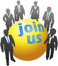 Join up with business people ball a team of standing together around company symbol Royalty Free Stock Photography