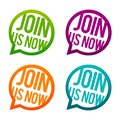 Join us now round Buttons. Circle Eps10 Vector. Royalty Free Stock Photo