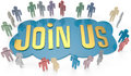Join us social or business people invite group around invitation for website icon Stock Photography