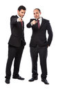 Join us two businessman standing on a white background Royalty Free Stock Images