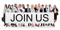 Join us word on banner Royalty Free Stock Photo
