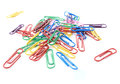 Joined colored paperclips on white background Royalty Free Stock Photo